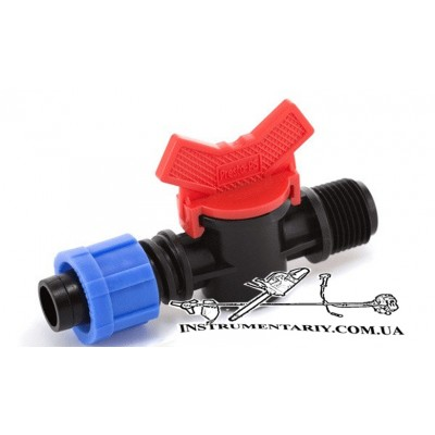 Кран шаровый для капельной ленты 16 мм Presto-PS с наружной резьбой 3/4 дюйма  (TV-0117)